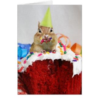 Cartão Feliz aniversario pouco Chipmunk