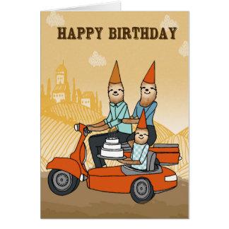 Cartão Feliz aniversario - preguiças que montam um Ca de