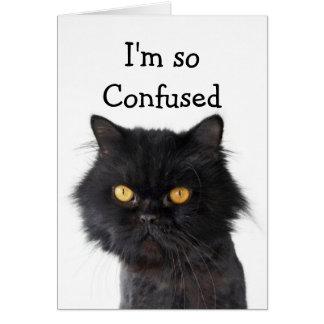 Cartão Feliz aniversario preto confuso de gato persa