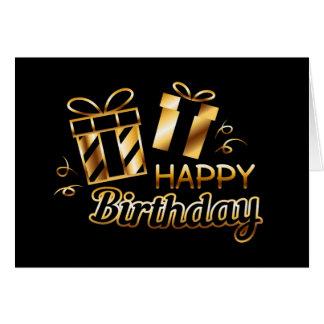 Cartão Feliz aniversario - preto & ouro 4
