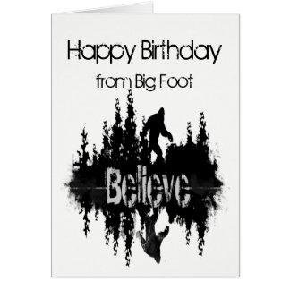Cartão Feliz aniversario Sasquatch pé grande engraçado