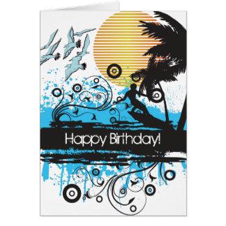 Cartão Feliz aniversario surfando do surfista da praia do