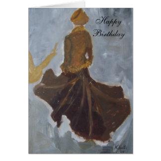 Cartão Feliz aniversario (vestido marrom)