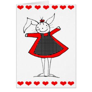 Cartão feliz bonito do amor do coelho