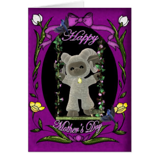 Cartão feliz bonito do dia das mães com carneiros