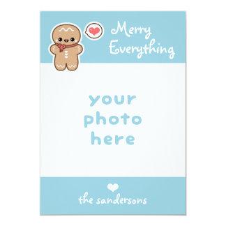 Cartão Feliz bonito tudo Natal do homem de pão-de-espécie