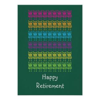 Cartão feliz colorido da aposentadoria das corujas convites