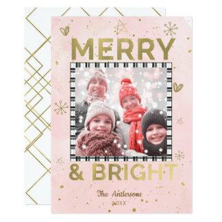 Cartão FELIZ cor-de-rosa do ouro & foto BRILHANTE do