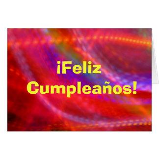 Cartão - Feliz Cumpleaños - multicolorido
