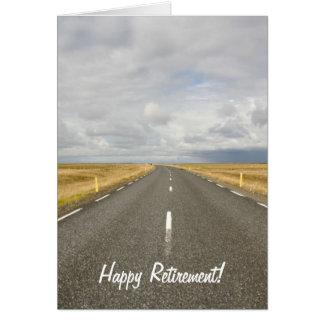 Cartão feliz da aposentadoria da estrada