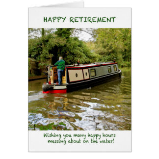 Cartão feliz da aposentadoria de Narrowboat