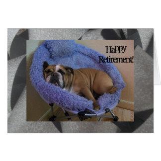 Cartão feliz da aposentadoria do buldogue inglês