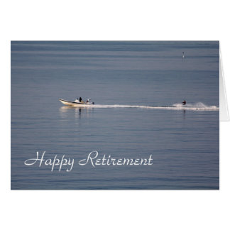 Cartão feliz da aposentadoria do esqui aquático