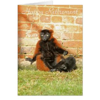 Cartão feliz da aposentadoria do Lemur