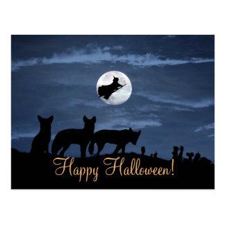 Cartão feliz da bruxa do Dia das Bruxas do bloco