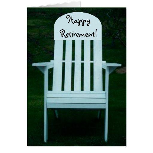 Cartão feliz da cadeira da aposentadoria