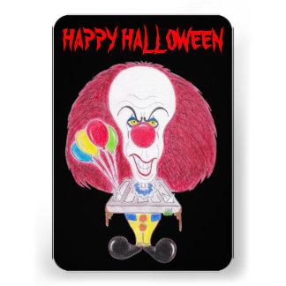 Cartão feliz da caricatura do palhaço do Dia das Convite Personalizados