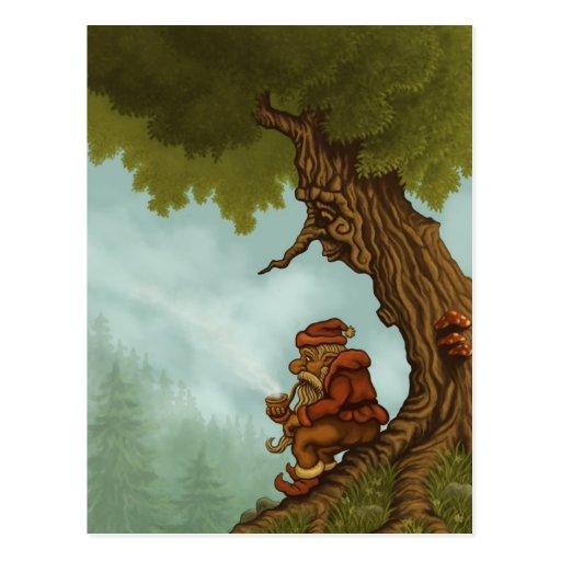 cartão feliz da fantasia da árvore cartão postal