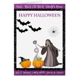 Cartão feliz da fermentação das bruxas do Dia das