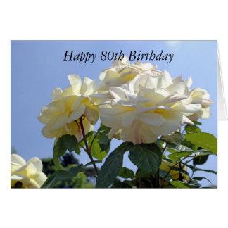 Cartão feliz da flor do aniversário do 80