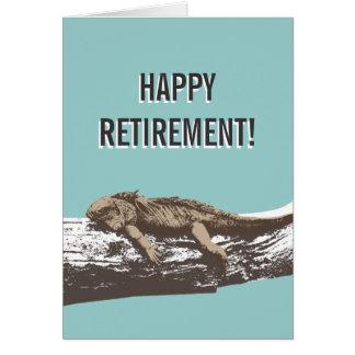 Cartão feliz da iguana de Relexed da aposentadoria