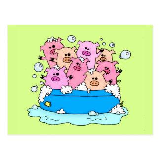 Cartão feliz da ilustração dos porcos