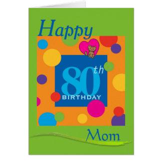 Cartão feliz da mamã do aniversário do 80