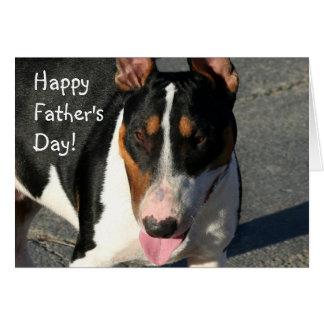 Cartão feliz de bull terrier do dia dos pais