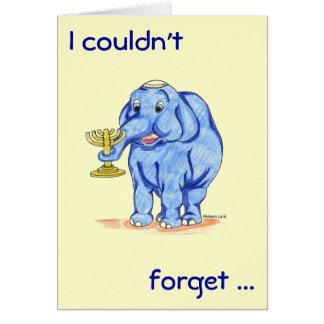 Cartão feliz de Hanukkah com elefante bonito