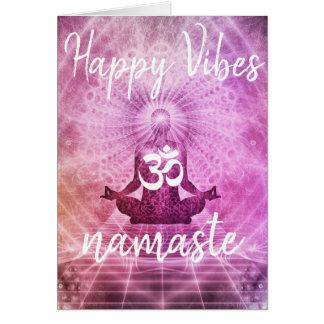Cartão feliz de Namaste OM das impressões da ioga