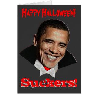 Cartão feliz de Obama o Dia das Bruxas dos otários