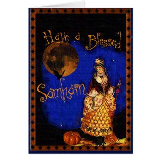 Cartão feliz de Samhain o Dia das Bruxas da bruxa