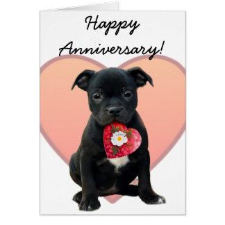 Cartão feliz de Staffordshire bull terrier do