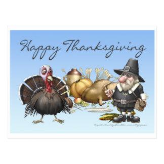Cartão feliz de Thankgiving com peregrino e