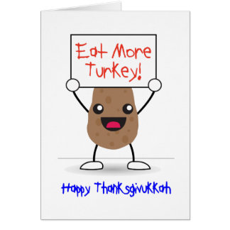 Cartão feliz de Thanksgivukkah: Acção de graças &