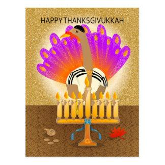 Cartão feliz de Thanksgivukkah Turquia