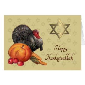 Cartão feliz de Thanksgivukkah - Turquia & estrela