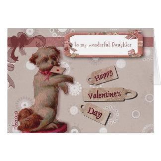 Cartão feliz dia dos namorados a meu cão bonito da filha