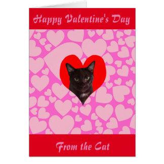 Cartão Feliz dia dos namorados do gato (gato preto)