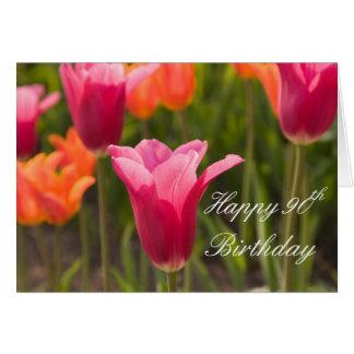 Cartão feliz do aniversário 5x7 do 90 da tulipa
