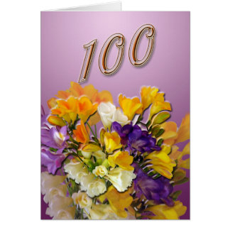 Cartão feliz do aniversário dos Freesias 100th
