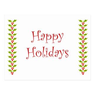 Cartão feliz do azevinho do feriado
