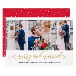 Cartão Feliz do brilho do ouro & feriado casado da