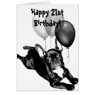 Cartão feliz do buldogue francês do aniversário de