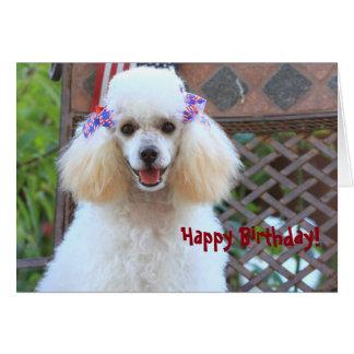 Cartão feliz do cão de caniche do brinquedo