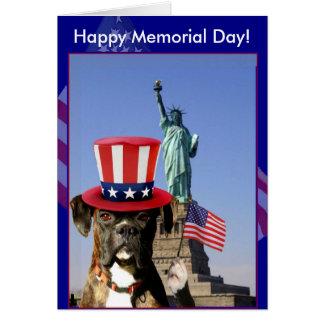 Cartão feliz do cão do pugilista do Memorial Day