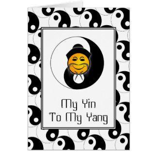 Cartão feliz do cartão de cara de Yin Yang