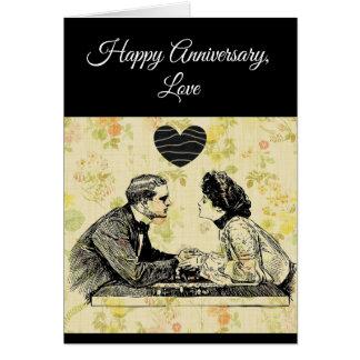 Cartão feliz do casal do vintage do amor do
