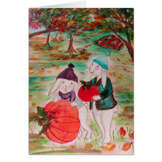 Cartão feliz do coelho da acção de graças do