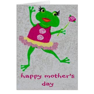 Cartão feliz do comedor de rãs do dia das mães.